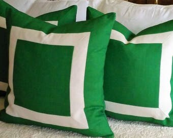 Green and Ivory (Off White) Pillow Cover Kelly, Emerald, Malachite, Grass Green Knife Edge Piping or Flange Linen Blend 18x18 20x20 22x22