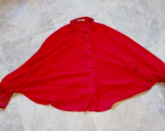 SALE 80s red batwing cape or blouse, unique cape,  F'D UP, semi sheer, colour block blouse shirt, button up, vintage, 12 Medium, 417/239
