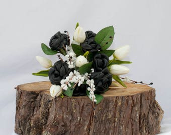 BLACK LEATHER ELEGANCE, Black Leather Handmade Bouquet. Unique, Individual, one of a kind, just for you