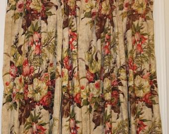 Pair of Vintage Barkcloth Drapery Panels
