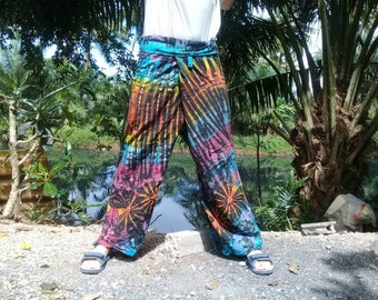 """Tie Dye Fisherman Pants Thai Long Wrap Pants Hippie Travel Beach 44""""  Black Rainbow Mix"""