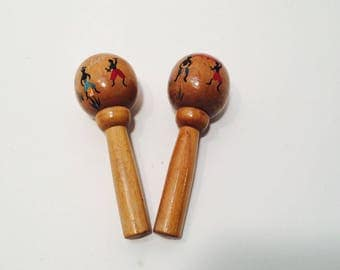 Vintage Mexican Hand Painted Salt and Pepper Shakers, Maracas Salt & Pepper Shakers, Wood Maracas, Salt and Pepper Shakers