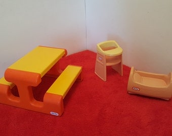 Vintage little tikes picnic table or little tykes 2 piece nursery set, high chair and bassinet  / doll house furniture