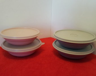 Vintage tupperware cereal bowls with lids, set of 2, your choice of colors, blue, or pink,  tupperware #155