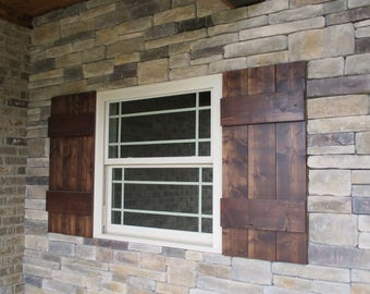 Thick Rustic Exterior Wood Shutters (Set of 2)