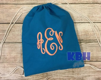 Embroidered Canvas Drawstring Backpack