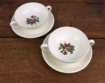 Set of two soup or cafe au lait bowls, cream ceramic Wedgwood Moss Rose design