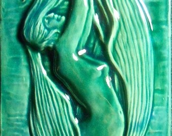 "LAKE SIREN Mermaid tile 3.25"" x 10"""