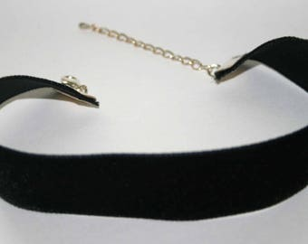 Handmade Black Velvet Ribbon Choker Style Necklace 22mm Silver Plated Fixings