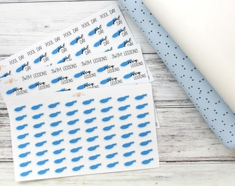 Pool Stickers - Swim Lessons - Pool Day- CHOOSE OPTION - Planner Stickers - Matte or Glossy