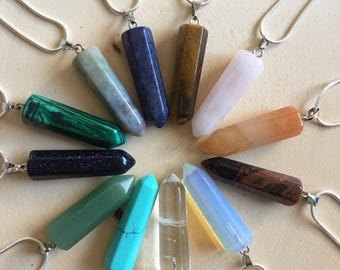 Assorted Healing Crystal Point Necklace