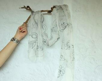 Hand Painted Black and White Silk Chiffon Scarf, Floral Scarf, Long Silk Scarf, Luxury Silk Scarf, Women Silk Accessory, Elegant Silk Scarf