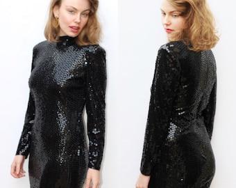 Vintage Designer Couture OLEG CASSINI Ladies Sequin Long Sleeve Turtle Neck Little Black Dress