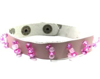 Boho Bracelets,Gypsy Bracelets,Leather Bracelets,Beaded,Gifts for her,Gifts for him,Gifts for Teens,Holiday Gifts,Bohemian jewelry,Pink