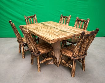 Northern Torched Cedar Log Stump Kitchen/Dining Table - 6 Chairs