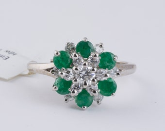 Emerald and Diamond Vintage Flower Ring in White Gold
