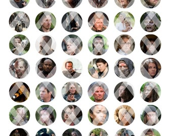"The Walking Dead Season 6 Inspired 1"" Bottle Cap Images - 8.5x11 Digital Collage Sheet - Instant Download"