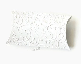 12 White Elegant Vineyard Embossed Pillow Boxes-Candy Box, Favor Box, Gift Box-Choose Your Colors-Set of 12pcs
