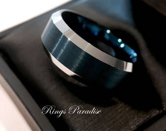 Blue Wedding Bands, Mens Blue Rings, Mens Engagement Rings, Blue Tungsten Ring, Men  Women Tungsten Rings, Wedding Rings By Rings Paradise