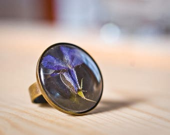 Real flower resin ring - Old gold color ring with pressed flower in clear resin cabochon