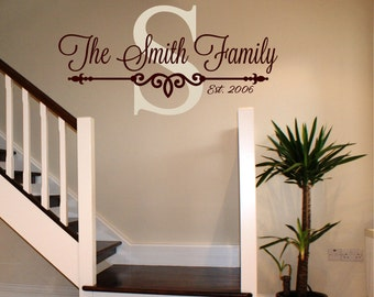 Family Name Decal - Personalized Family Wall Decal Name Monogram - Wedding Gift