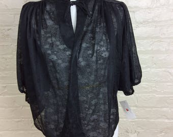 Goth Vintage Black Lace Circa 1960's Bed Jacket for Nightgown or Slip - Size Large