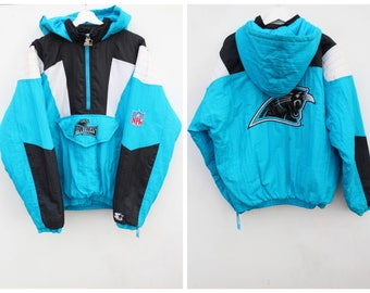 90s Pullover Starter Jacket / Carolina Panthers / Men's Oversized LARGE / Baggy Slouchy 90s Hip Hop / Free Shipping