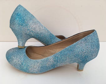 Summer Sky Glitter Kitten Heels - Blue Sky - Clouds - Bridal - Wedding Shoes - Bridesmaid - Prom - Party - Customised Shoes - UK Size 3-8