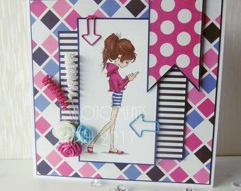 OOAK Jasmine Texting Handmade Card - Lili of The Valley