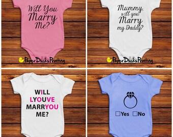 Valentines Will You Marry Me Baby Bodysuit / Vest / Onesie / Grow | Love Marriage