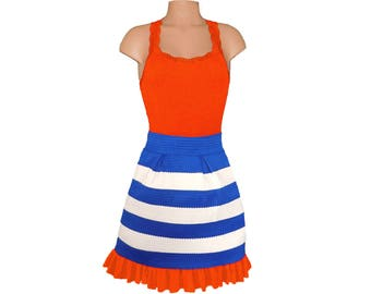 Orange + Blue Stripe Scuba Skirt