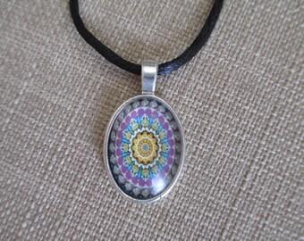 Tie-Dye Floral Burst Pendant Necklace