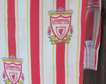 "Vintage Curtain Panel; Striped Curtain W66"" x H72"" with LIVERPOOL Football Club's Symbols; Boys Room Curtain; White & Red Cotton Curtain Vtg"