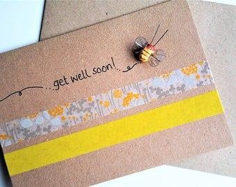 Get Well Soon Card - Bumble bee, A6 blank card, gender neutral card, get well soon, speedy recovery