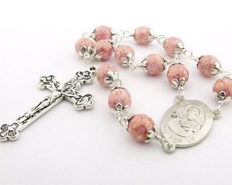 Catholic Rosary Beads with Saint Therese The Little Flower Centerpiece - Pink Handmade One Decade Pocket Rosary Tenner - Catholic Gift