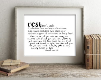 REST Defined Series Printable Art, Matthew 11:28-30, Definition Print, Affordable Home Decor, Scripture, Typography, Minimalist Art