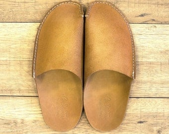 CP Slippers Premiun Tan Leather Home Shoes
