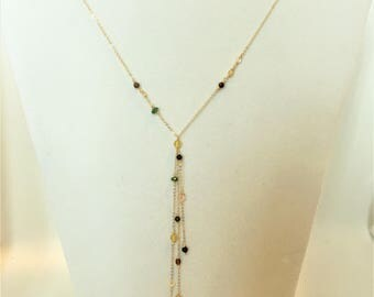 Cascading God Filled Lariat Necklace