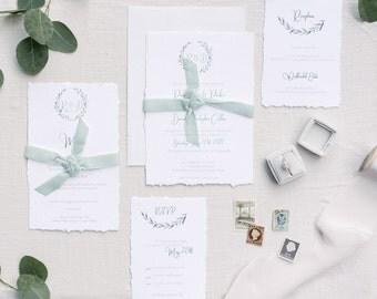 Wreath Invitation Suite/ Deckled Edge Invitation / Velvet Ribbon Invitation Card /Wedding Invitation Card /Greenery Invitation/Rustic Invite