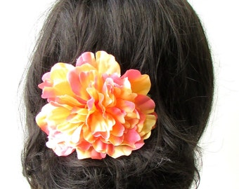 Large Orange Peony Flower Hair Comb Bridesmaid Big Rockabilly 1950s Rose 1737