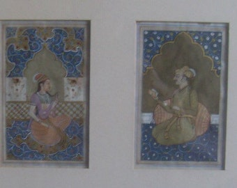 Miniature Mughal 19th Century Paintings Emperor Jahangir and Anarkali