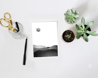 Minimalist print, moon print, landscape print, black and white print, mixed media art, collage, wall art, note card, small art print, 5X7