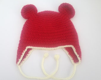 Crochet Bear ear Hat. Baby ear flap Hat. Child ear flap hat.