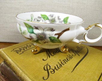 Ucago China - Footed Porcelain Teacup - White Dogwood Branches - Gold Accent