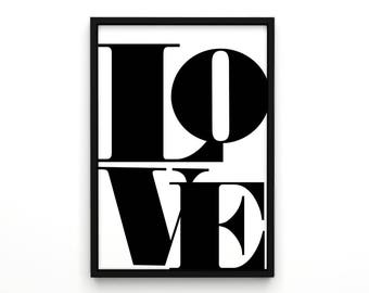 Valentine's Day Gifts, Love Print, Typographic Wall Art, Typography Art, Geometric Wall Art, Wall Decor,  Art Print, Cool Poster