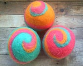 Ovella Wool Dryer Balls: The Doces Brillante Collection-Set of Three (3), colorful, orange, rainbow, custom, unique, bright, reusable, green