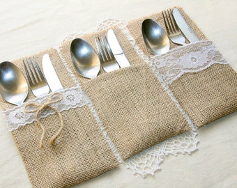 burlap silverware holders table decor holders rustic table decor wedding table