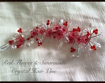 Stunning hair piece with red flowers & swarovski crystals