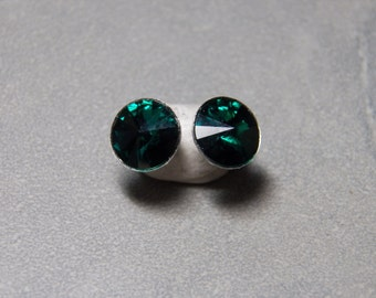 10mm Swarovski Emerald Rivoli Post Earrings with Silver Plated Backs and Posts