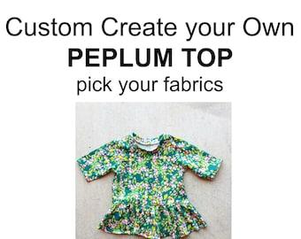 Custom Peplum Top, girls peplum top, baby peplum top, toddler peplum top, girls peplum, girls top, girls shirt, baby shirt, baby top